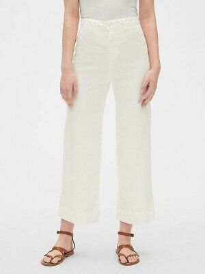 Gap High Rise Wide Leg Crop White Denim Jeans Size 6