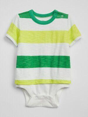 NWT BABY GAP BOYS ONE-PIECE bodysuit double green striped d    u pick size ()
