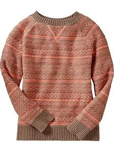 Old Navy kid's grey/orange cable knit sweater Size 8 NWT