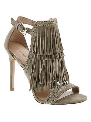 NIB Banana Republic Fringe Bryce Shoes Sandals Heels Size 6 Gray Green Zara/HM