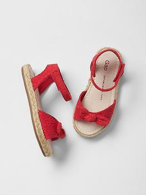 GAP Baby / Toddler Girls Size US 9 Red Eyelet Espadrilles Sandals Shoes w/Bow