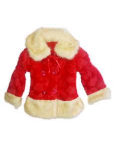 Red fur jacket 3T brand new