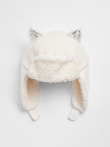 NWT GAP Pro Fleece Cozy Kitty Trapper Hat Supersoft Sherpa Lining Girls S M 2 3