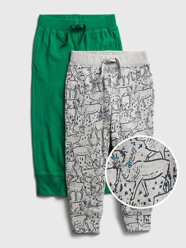 NWT GAP 2-Pack Pull-On Joggers Soft Pants Reindeer Green Toddler Boys 18-24