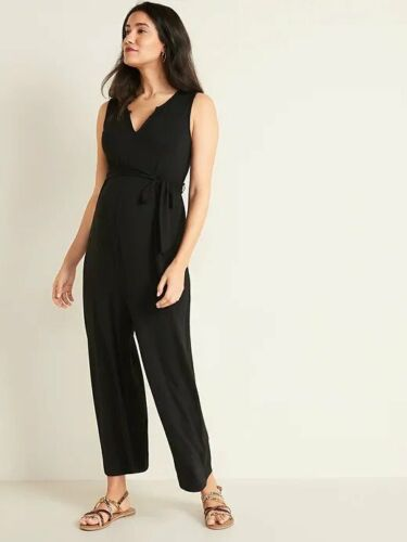 Old Navy Maternity Sleeveless Tie-Belt Wide-Leg Jumpsuit Size M- Black- NWT