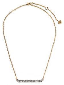 Banana Republic Gold Tone Matchstick Bar Crystal Necklace NWT $58