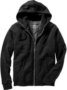 OLD NAVY Mens Black Sherpa FUR Lined Full Zip Hoodie Jacket L NWT  NEW