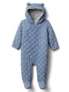 babyGap *NEW* Quilted chambray bear one-piece