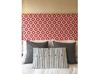 Upholstered Diamond Patterned Bed Headboard