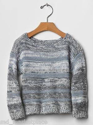 NEW Baby GAP Girls Marled Pullover Knit Sweater Gray White Split Hem 4T 4 Years