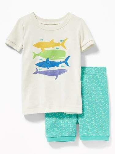 NWT BOYS OLD NAVY PAJAMAS PJS SIZE 3T 4T SHARK FISH WHALES 2 PIECE SHORTS