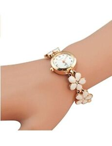 White and gold floral Women's bracelet Watch