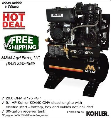 New Diesel Air Compressor Ohv Diesel Engine W Electric Start 30 Gallon Tank