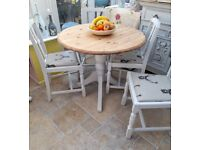 Refurbished, 3 ft pine table and 4 x upholstered chairs