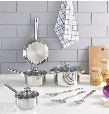 KITCHEN COOKWARE SET 10-Piece Stainless Steel Pot Pan And Utensils