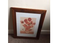 Vincent Van Gough the sunflowers print and wooden frame
