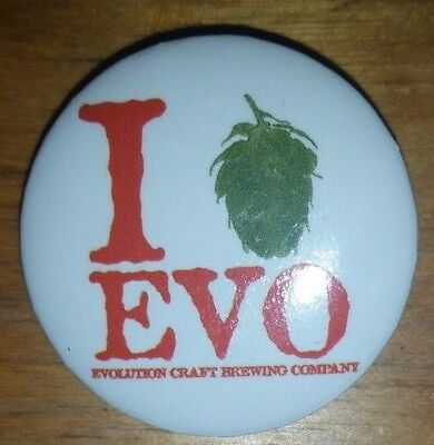 Evolution Craft Brewing Company mini pin button Salisbury, MD I Love Beer Hops - Evolution Mini Button