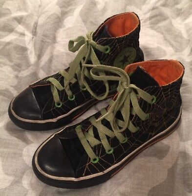 RARE CONVERSE HALLOWEEN HIGH-TOP SHOES BLACK ORANGE GREEN SPIDER WEB TODDLER 12 - Halloween Toddlers