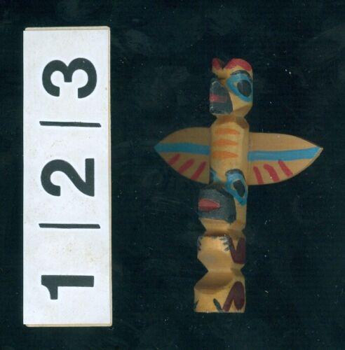 miniature clip-on NW Coast wood carved Totem, Bear, Owl, Bird effigy