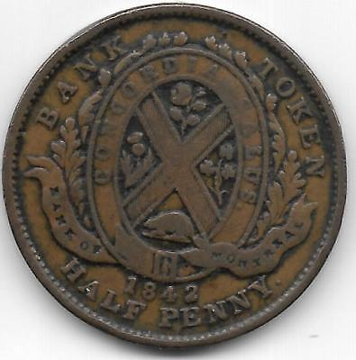 Canada 1842  Bank Of Montreal  1 2 Penny Token    Xf Condition   Bv 40