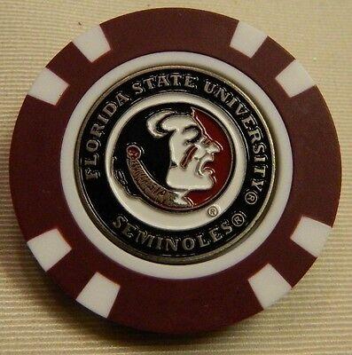 NEW FSU Florida State Seminoles Magnetic Poker Chip removable Golf Ball Marker