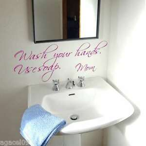 Bathroom toilet sink kids wall quote vinyl sticker decal stencil mural graphic for Pochoir pour salle de bain