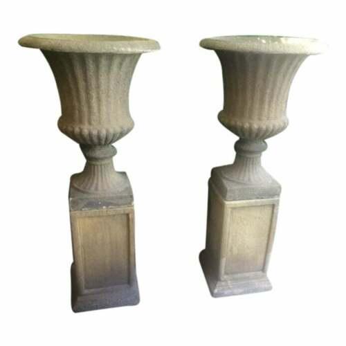 Set of 4 Large Garden Urns on Pedestals English Bath Stone Color