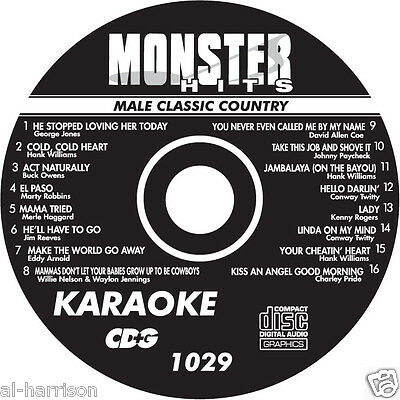 KARAOKE MONSTER HITS CD+G MALE CLASSIC COUNTRY  #1029