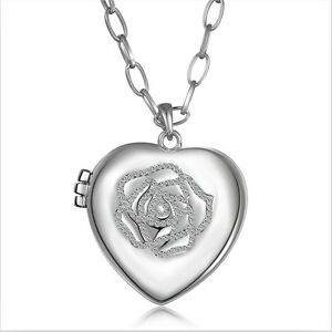 18K White Gold GF Hollow Heart Locket Swarovski Crystal Rose Pendant Necklace