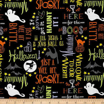 Here For The Boos Fabric Halloween Out Of Print Bats On Orange Premium Cotton  (Bat Print Out Halloween)