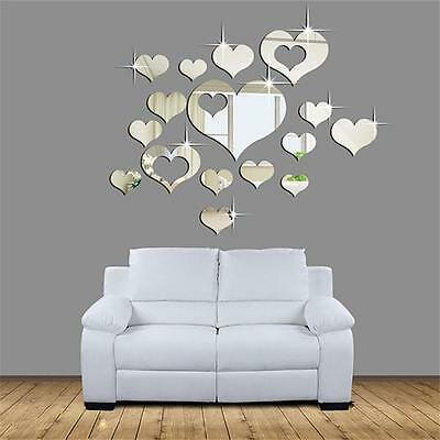 DIY 3D Home Living Room Bedroom Decor Heart Clock Mirror Art Mural Wall Stickers
