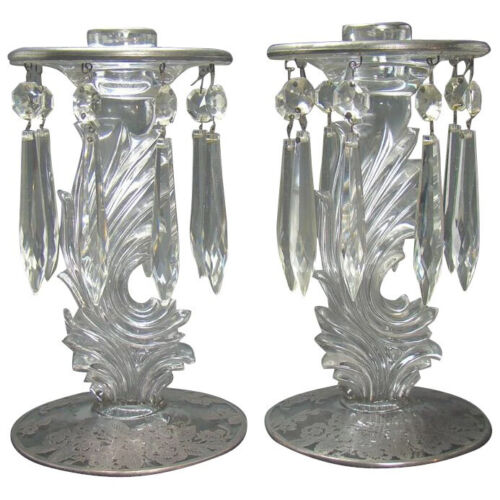 Candle Holders with Cut Glass Prisms and Silver Overlay - 1920