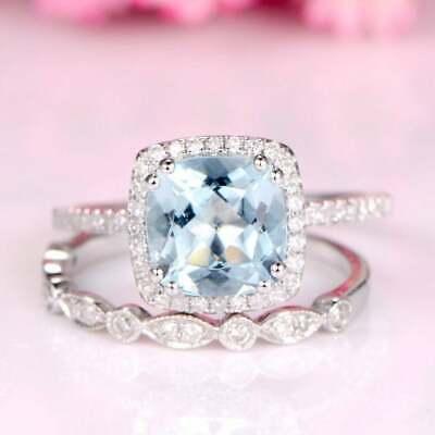 2.50Ct Cushion Cut Aquamarine Bridal Engagement Ring Solid 14K White Gold Finish ()