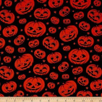 Halloween Fabric - Jack o Lantern Pumpkin Heads Black - Michael Miller YARD](Michael Miller Halloween Fabric)