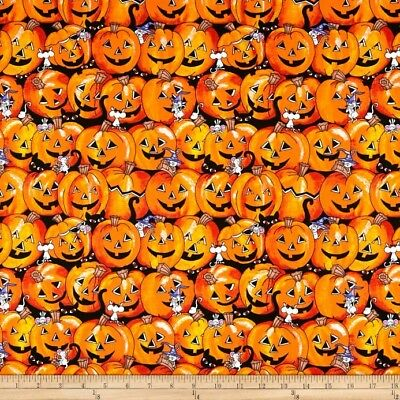 Halloween Pumpkin Cats  Cotton Fabric Santee By the Yard BFab Boo - Halloween Cat Fabric