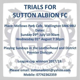 11 Side players needed (Wallington, Carshlaton, Sutton, Morden, Merton, Croydon)