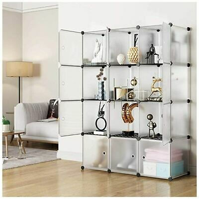 Large Bookcase Modern Tall Display Cube Shelves Bookshelf w/Doors 12 Shelf DIY - Tall Cube Storage