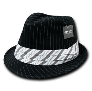 Black-White-Pin-Stripe-Pinstripe-Woven-Fedora-Fedoras-Hat-Hats-Band-Sz-L-XL