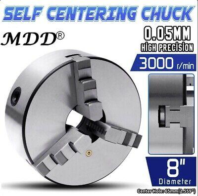 8 3 Jaw Self Centering Plain Back Lathe Chuck Reversible .0039 High Quality Us