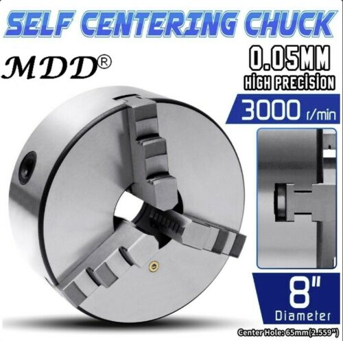 "8"" 3 Jaw Self Centering Plain Back Lathe Chuck Reversible .0039"" High Quality US"