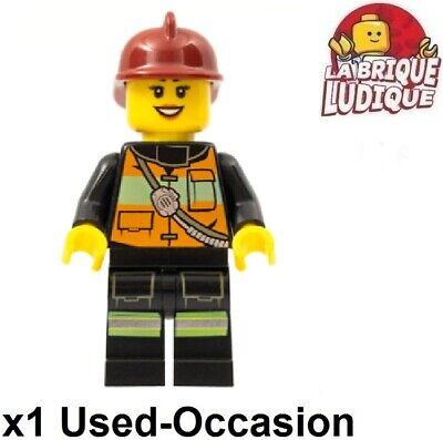 LEGO Figurine Minifig City Firefighter Fire Woman Helmet Radio cty0434 Used