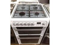//(%)\ HOTPOINT WHITE DUAL FUEL COOKER INCLUDES 1 Year GUARANTEE