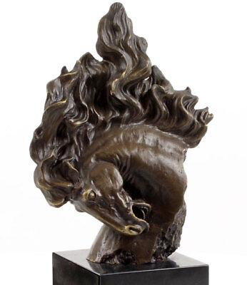 Wild Horse Mustang (BRONZE PFERD WILD MUSTANG - HEAD of HORSE SCULPTURE, WILDPFERD, Pferdekopf FIGUR)