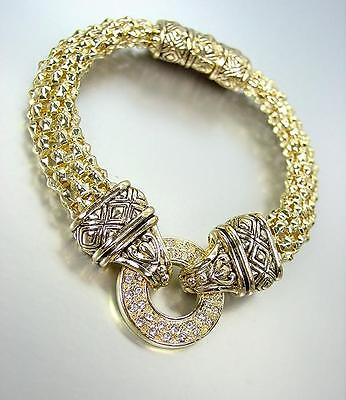 CLASSIC Gold CZ Crystals Ring Balinese Filigree Mesh Magnetic Clasp Bracelet Classic Gold Ring Bracelet