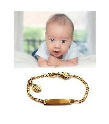 Baby no Personalized 14K gold overly id Bracelet with mary charm christening
