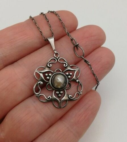 LIBERTY & Co c1900 Arts and Crafts silver and pearl pendant and original chain