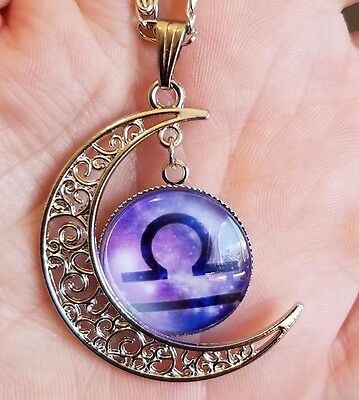 Libra Zodiac Necklace Pendant Horoscope Astrology Sign Crescent Moon Purple