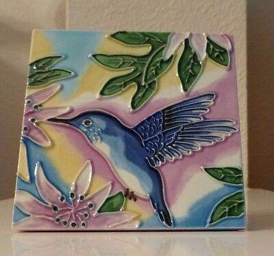 Ceramic Tile Blue Hummingbird Flowers 4x4 Vibrant Art Hand Painted Wall Decor