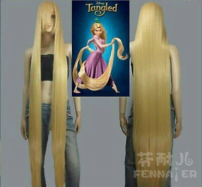 Long Rapunzel Wig (Disney Movie Tangled Rapunzel long blonde cosplay wig wavy cos full wig)