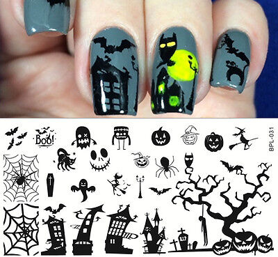 Pretty Halloween Nails (BORN PRETTY Halloween Nail Art Stamping Templates Image Stencil Plates )